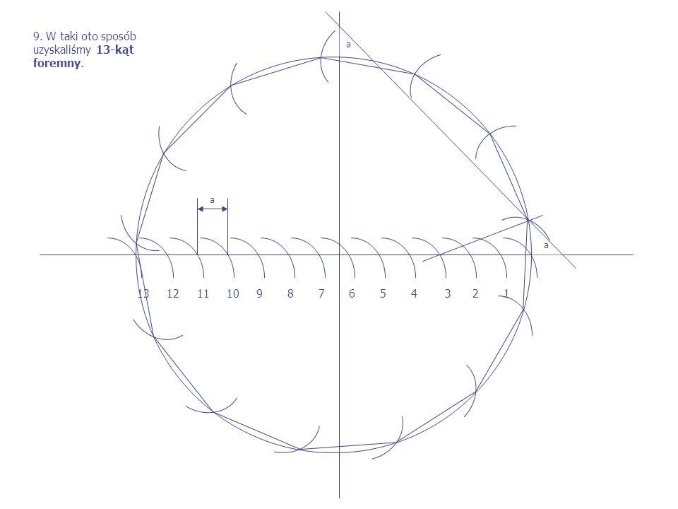 13 12 11 10 9 8 7 6 5 4 3 2 1 a a a 9. W taki oto sposób uzyskaliśmy 13-kąt foremny.