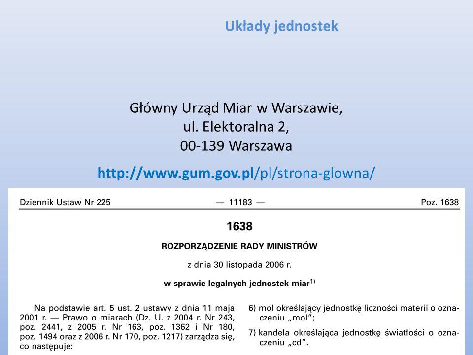 Układy jednostek Główny Urząd Miar w Warszawie, ul. Elektoralna 2, 00-139 Warszawa http://www.gum.gov.pl/pl/strona-glowna/