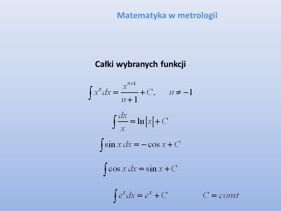 Matematyka w metrologii Całki wybranych funkcji