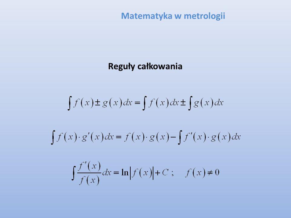 Matematyka w metrologii Reguły całkowania