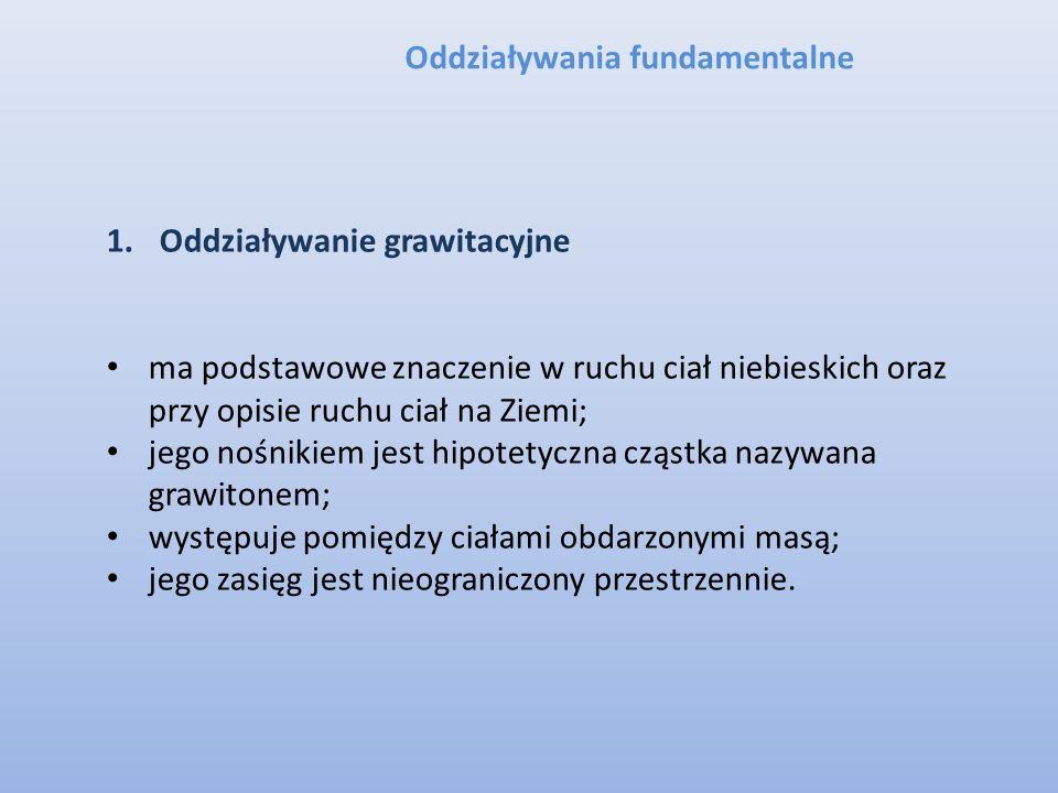 Oddziaływania fundamentalne 1.Oddziaływanie grawitacyjne ma podstawowe znaczenie w ruchu ciał niebieskich oraz przy opisie ruchu ciał na Ziemi; jego n