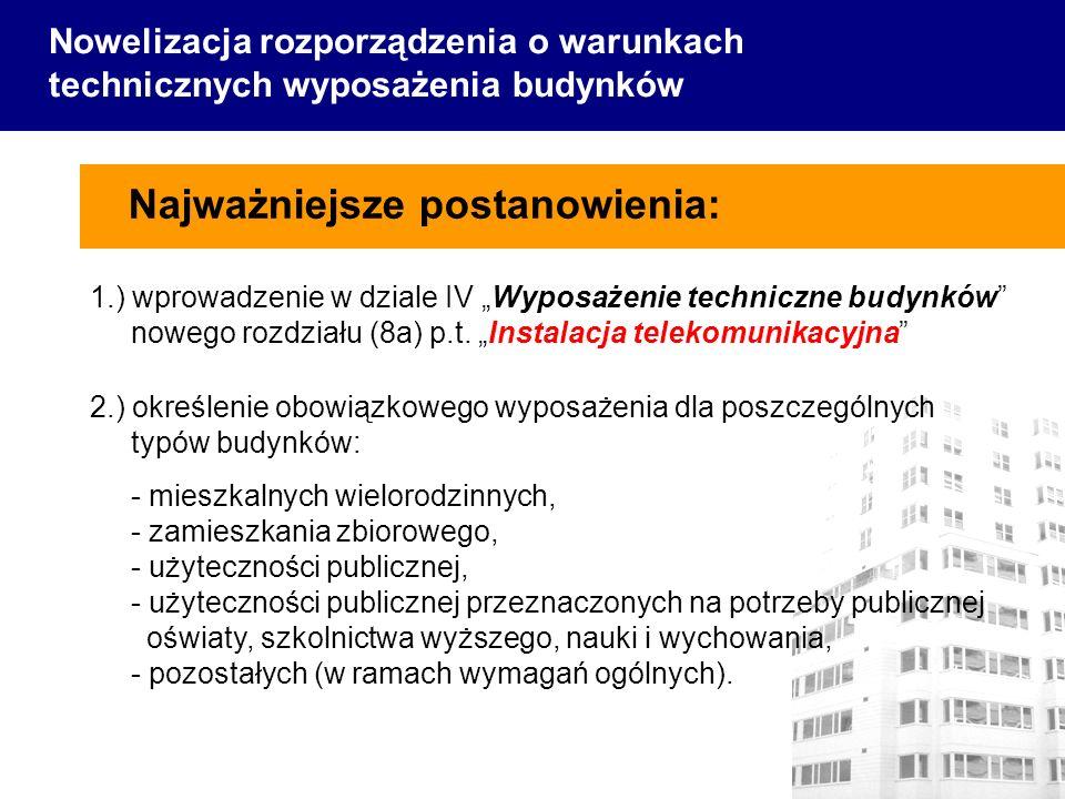 1.) wprowadzenie w dziale IV Wyposażenie techniczne budynków nowego rozdziału (8a) p.t. Instalacja telekomunikacyjna Najważniejsze postanowienia: Nowe
