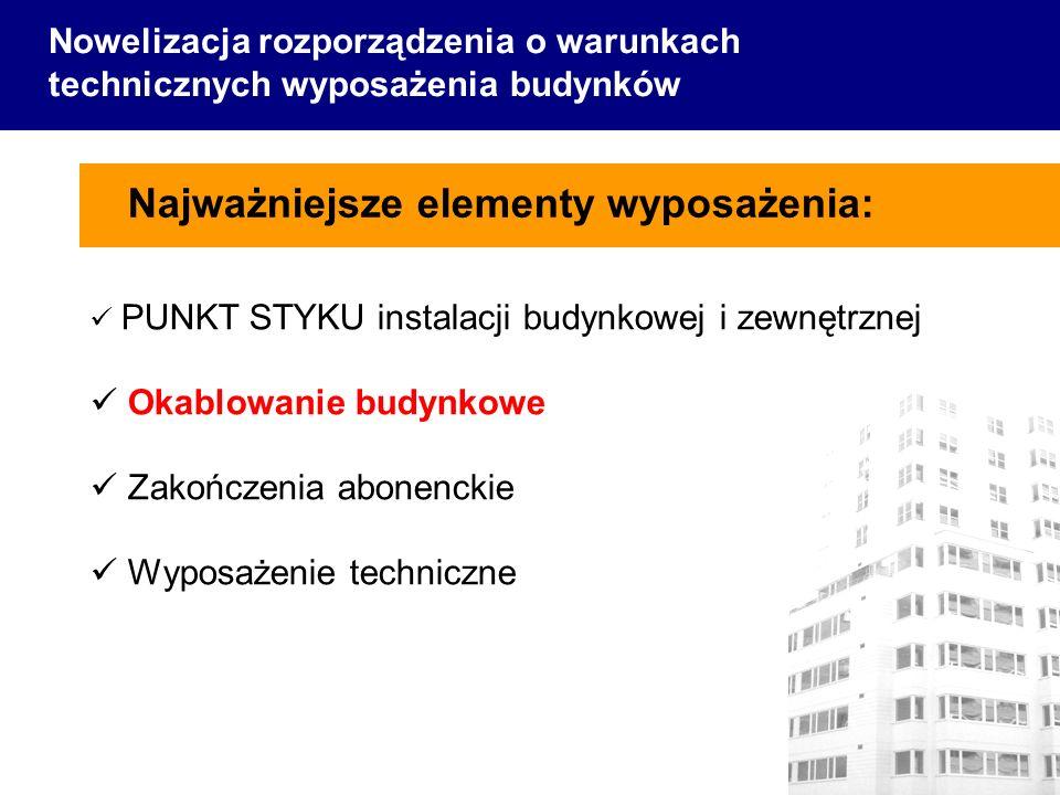 Najważniejsze elementy wyposażenia: Nowelizacja rozporządzenia o warunkach technicznych wyposażenia budynków PUNKT STYKU instalacji budynkowej i zewnę