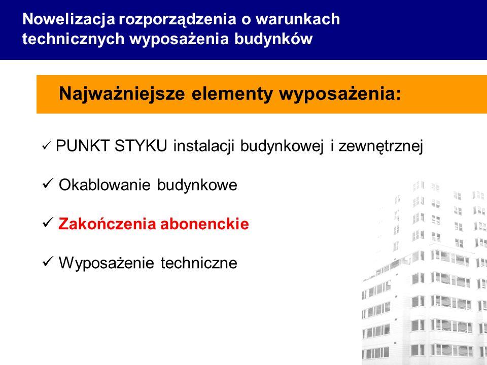 Najważniejsze elementy wyposażenia: Nowelizacja rozporządzenia o warunkach technicznych wyposażenia budynków PUNKT STYKU instalacji budynkowej i zewnętrznej Okablowanie budynkowe Zakończenia abonenckie Wyposażenie techniczne