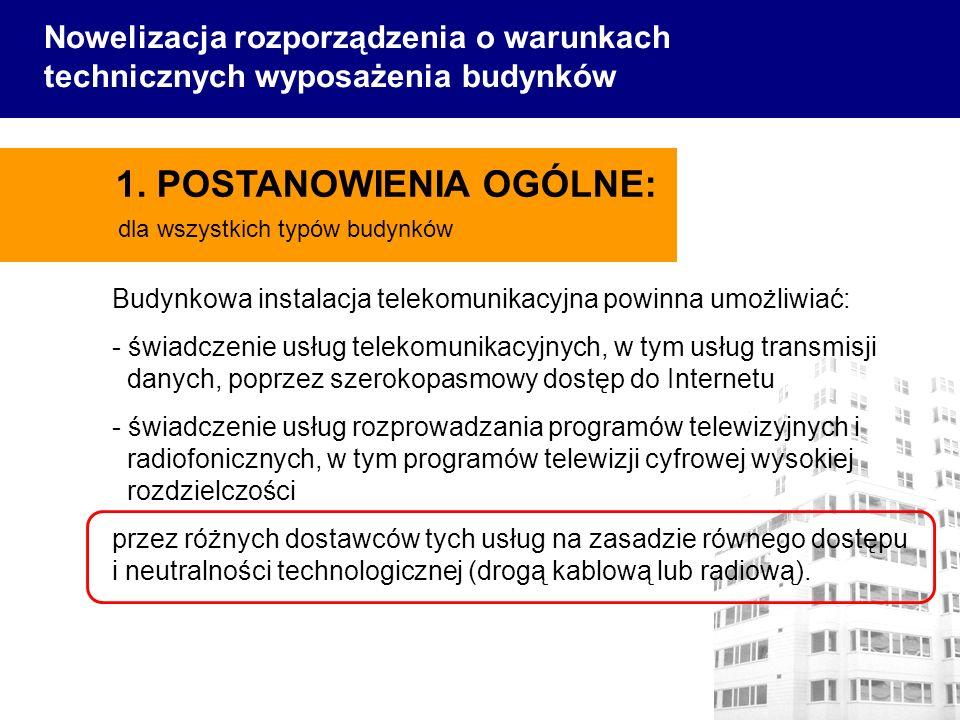 Budynkowa instalacja telekomunikacyjna powinna umożliwiać: - świadczenie usług telekomunikacyjnych, w tym usług transmisji danych, poprzez szerokopasm