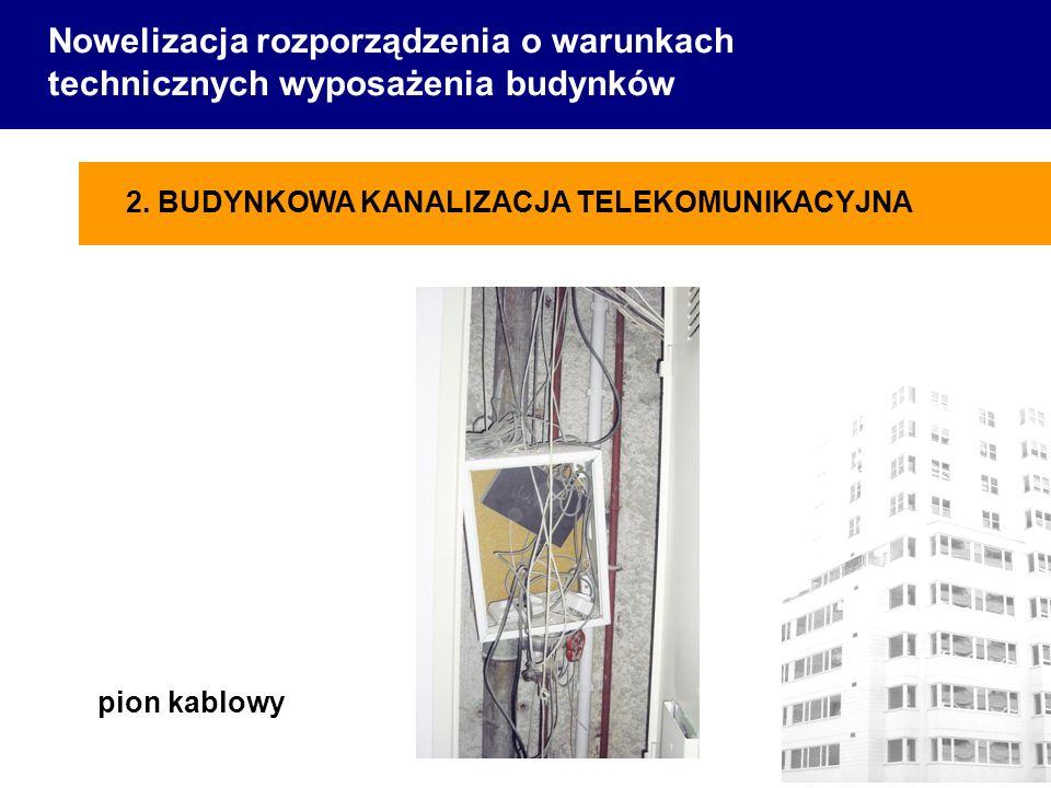 Nowelizacja rozporządzenia o warunkach technicznych wyposażenia budynków pion kablowy 2. BUDYNKOWA KANALIZACJA TELEKOMUNIKACYJNA