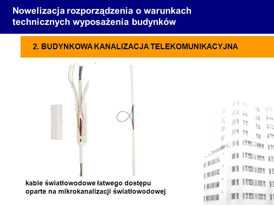 Nowelizacja rozporządzenia o warunkach technicznych wyposażenia budynków kable światłowodowe łatwego dostępu oparte na mikrokanalizacji światłowodowej