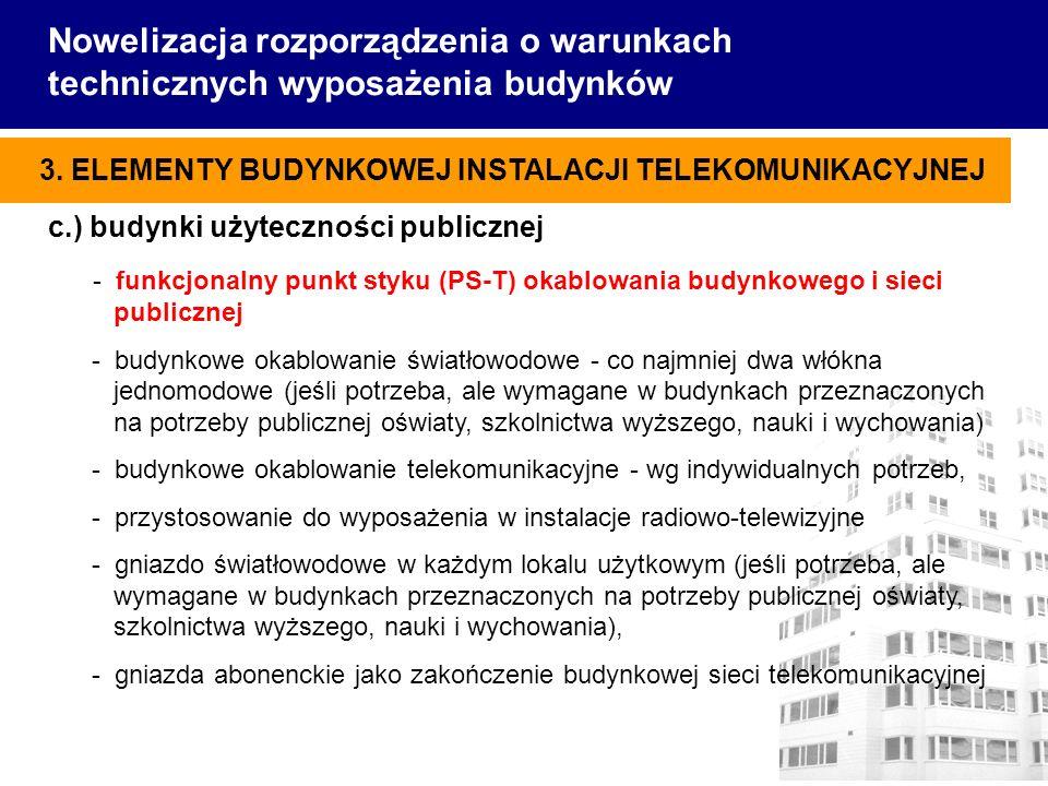 c.) budynki użyteczności publicznej - funkcjonalny punkt styku (PS-T) okablowania budynkowego i sieci publicznej - budynkowe okablowanie światłowodowe - co najmniej dwa włókna jednomodowe (jeśli potrzeba, ale wymagane w budynkach przeznaczonych na potrzeby publicznej oświaty, szkolnictwa wyższego, nauki i wychowania) - budynkowe okablowanie telekomunikacyjne - wg indywidualnych potrzeb, - przystosowanie do wyposażenia w instalacje radiowo-telewizyjne - gniazdo światłowodowe w każdym lokalu użytkowym (jeśli potrzeba, ale wymagane w budynkach przeznaczonych na potrzeby publicznej oświaty, szkolnictwa wyższego, nauki i wychowania), - gniazda abonenckie jako zakończenie budynkowej sieci telekomunikacyjnej Nowelizacja rozporządzenia o warunkach technicznych wyposażenia budynków 3.