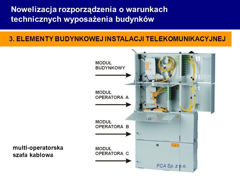 Nowelizacja rozporządzenia o warunkach technicznych wyposażenia budynków multi-operatorska szafa kablowa FCA Sp. z o.o. 3. ELEMENTY BUDYNKOWEJ INSTALA