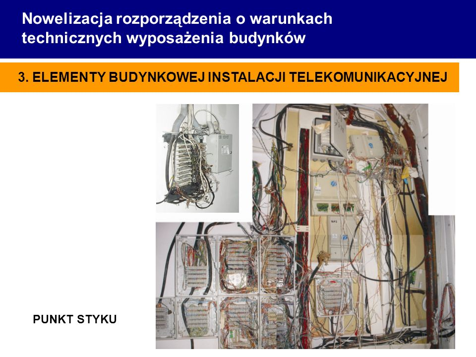 Nowelizacja rozporządzenia o warunkach technicznych wyposażenia budynków FCA Sp. z o.o. 3. ELEMENTY BUDYNKOWEJ INSTALACJI TELEKOMUNIKACYJNEJ PUNKT STY