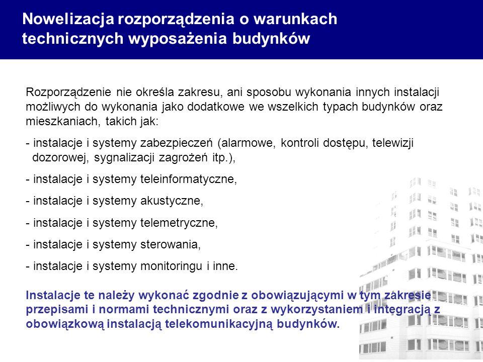 Rozporządzenie nie określa zakresu, ani sposobu wykonania innych instalacji możliwych do wykonania jako dodatkowe we wszelkich typach budynków oraz mi