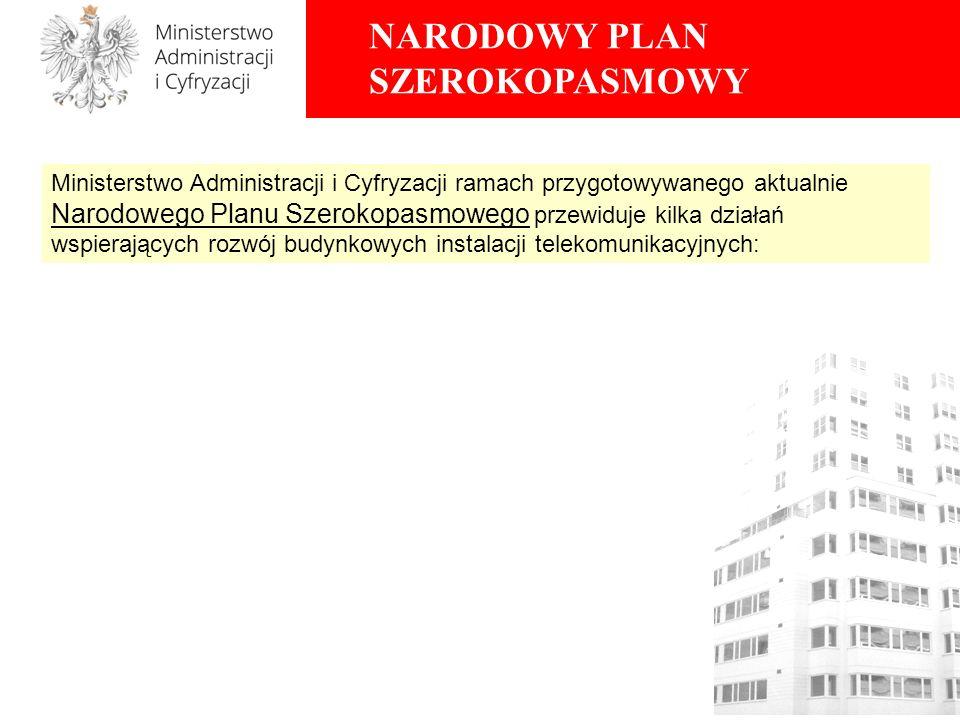 Ministerstwo Administracji i Cyfryzacji ramach przygotowywanego aktualnie Narodowego Planu Szerokopasmowego przewiduje kilka działań wspierających rozwój budynkowych instalacji telekomunikacyjnych: NARODOWY PLAN SZEROKOPASMOWY