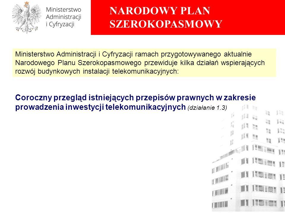 NARODOWY PLAN SZEROKOPASMOWY Coroczny przegląd istniejących przepisów prawnych w zakresie prowadzenia inwestycji telekomunikacyjnych (działanie 1.3) M