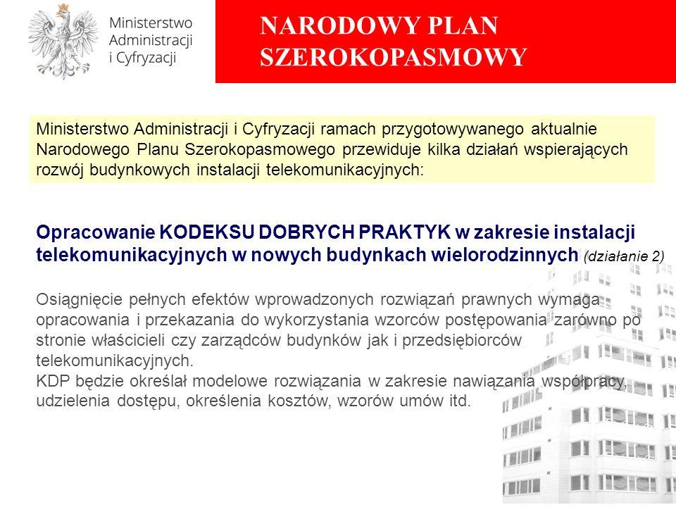 NARODOWY PLAN SZEROKOPASMOWY Opracowanie KODEKSU DOBRYCH PRAKTYK w zakresie instalacji telekomunikacyjnych w nowych budynkach wielorodzinnych (działan