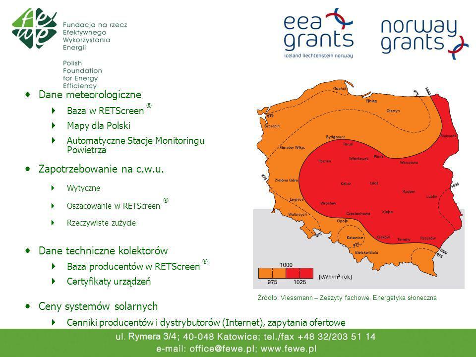 Dane meteorologiczne Baza w RETScreen ® Mapy dla Polski Automatyczne Stacje Monitoringu Powietrza Zapotrzebowanie na c.w.u. Wytyczne Oszacowanie w RET