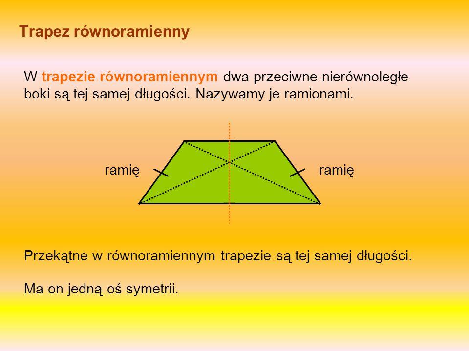 Trapez Trapez ma jedną parę boków równoległych. Czy trapez ma osie symetrii? podstawa górna podstawa dolna