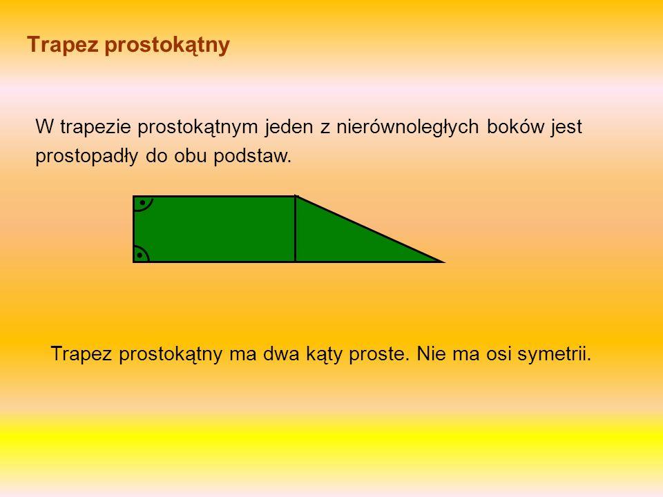 Trapez równoramienny W trapezie równoramiennym dwa przeciwne nierównoległe boki są tej samej długości. Nazywamy je ramionami. Przekątne w równoramienn
