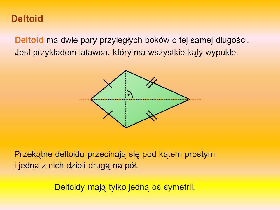 Latawiec Latawiec ma dwie pary przystających boków równej długości i jeden kąt wewnętrzny większy niż 180°. Jego przekątne przecinają się pod kątem pr