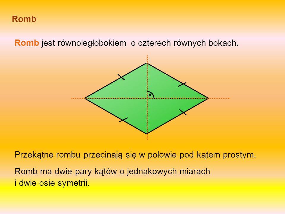 Równoległobok W równoległoboku przeciwległe boki są równei równoległe. Przekątne równoległoboku przecinają się w połowie. Równoległobok ma dwie pary k