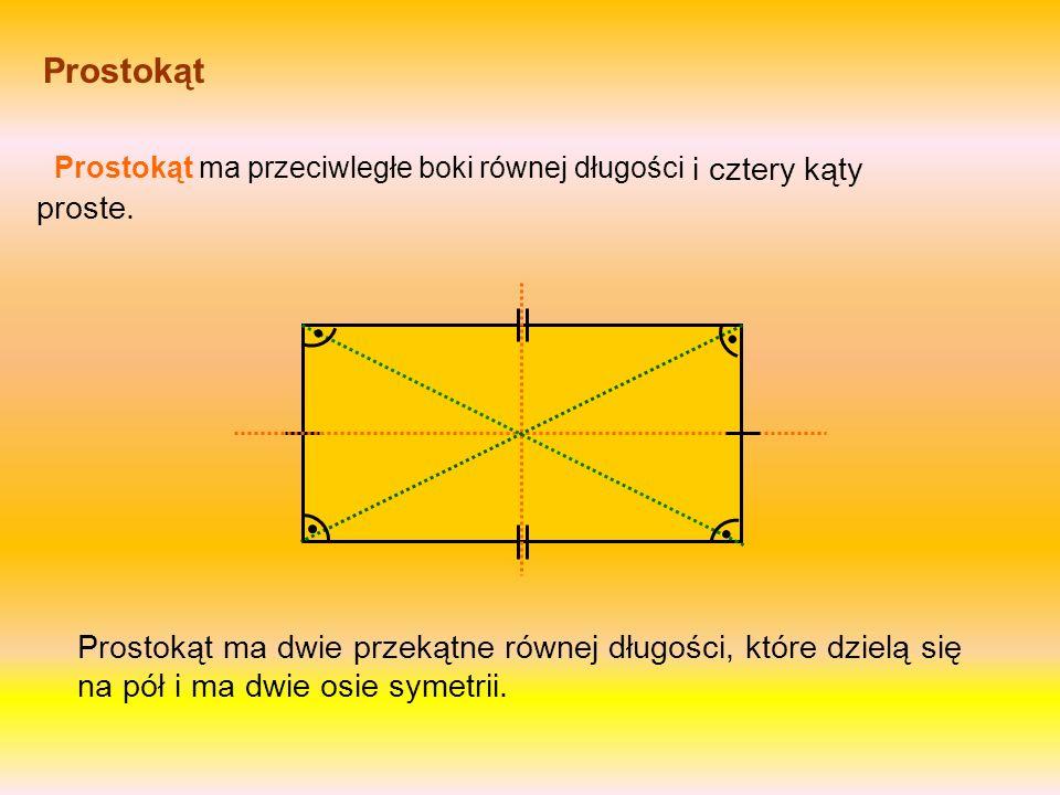 Prostokąt Prostokąt ma przeciwległe boki równej długości Prostokąt ma dwie przekątne równej długości, które dzielą się na pół i ma dwie osie symetrii.