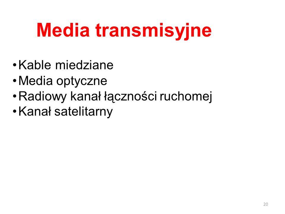 Kable miedziane Media optyczne Radiowy kanał łączności ruchomej Kanał satelitarny Media transmisyjne 20