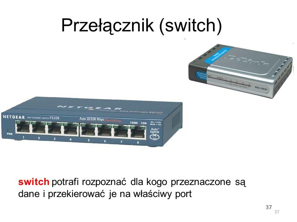 37 Przełącznik (switch) switch potrafi rozpoznać dla kogo przeznaczone są dane i przekierować je na właściwy port 37