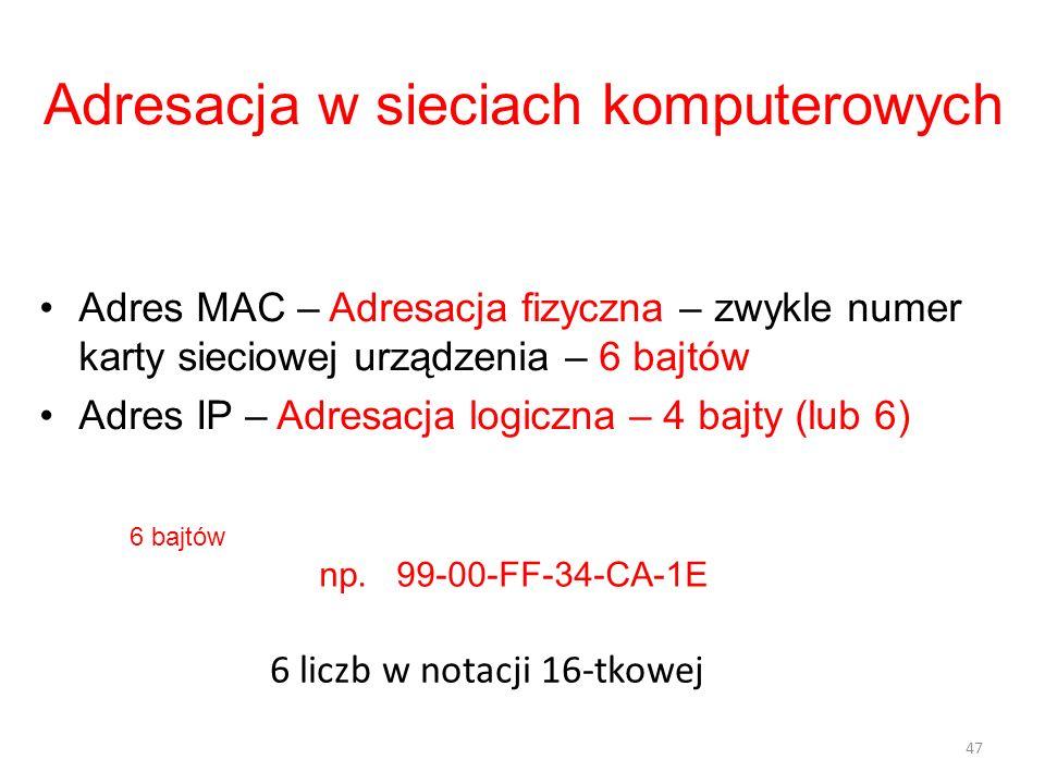 Adresacja w sieciach komputerowych Adres MAC – Adresacja fizyczna – zwykle numer karty sieciowej urządzenia – 6 bajtów Adres IP – Adresacja logiczna –
