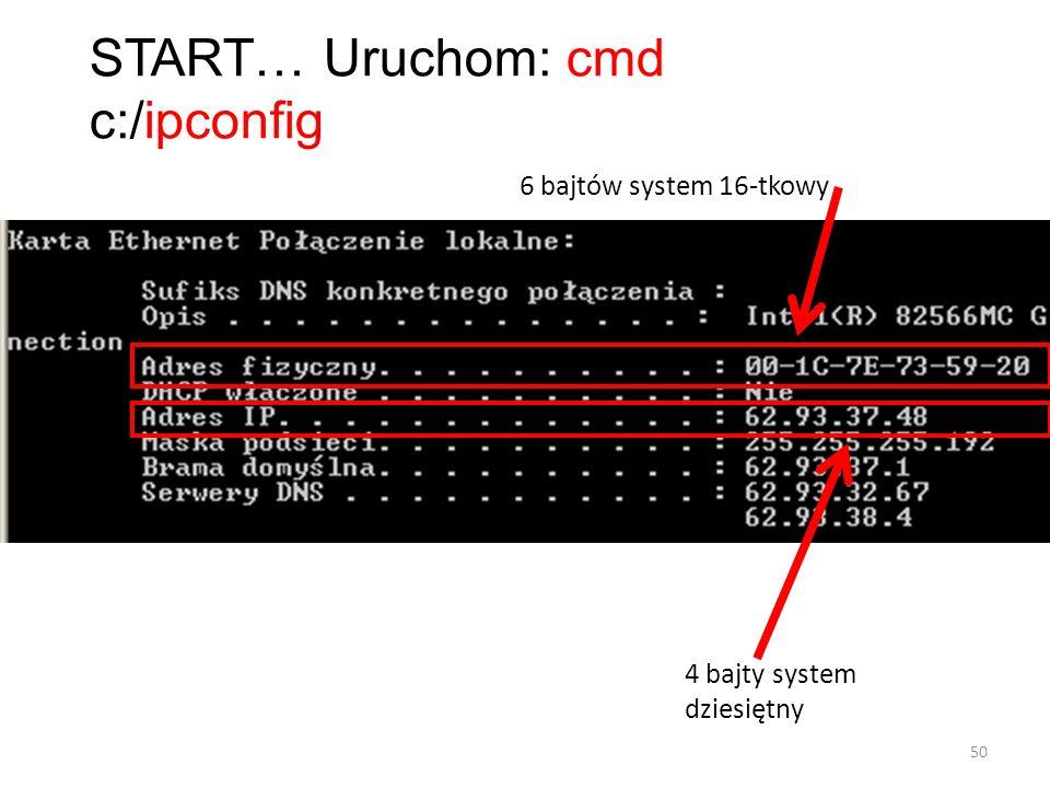 START… Uruchom: cmd c:/ipconfig 6 bajtów system 16-tkowy 4 bajty system dziesiętny 50
