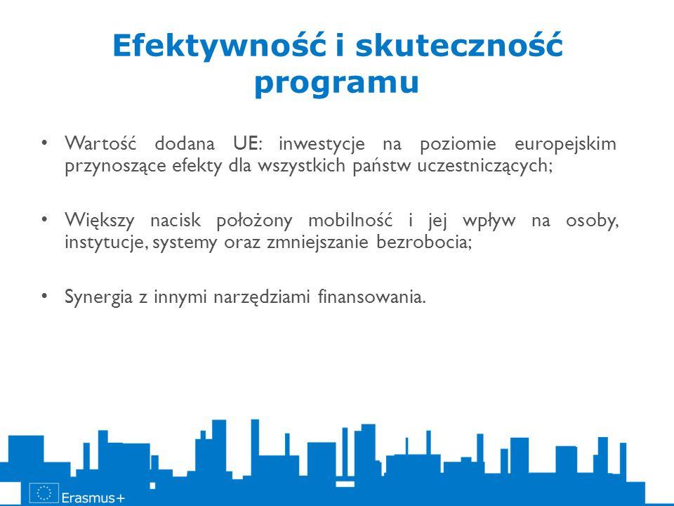Efektywność i skuteczność programu Wartość dodana UE: inwestycje na poziomie europejskim przynoszące efekty dla wszystkich państw uczestniczących; Wię