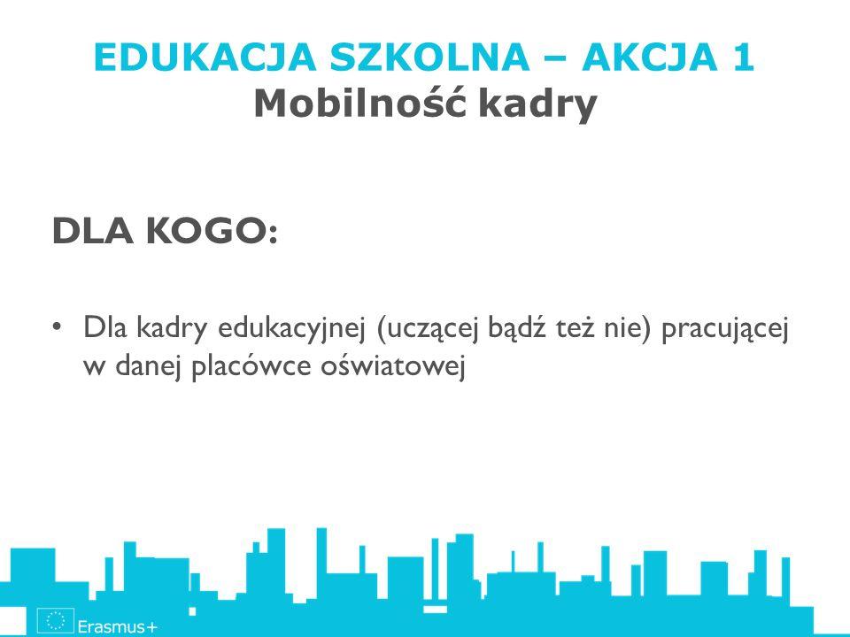 EDUKACJA SZKOLNA – AKCJA 1 Mobilność kadry DLA KOGO: Dla kadry edukacyjnej (uczącej bądź też nie) pracującej w danej placówce oświatowej