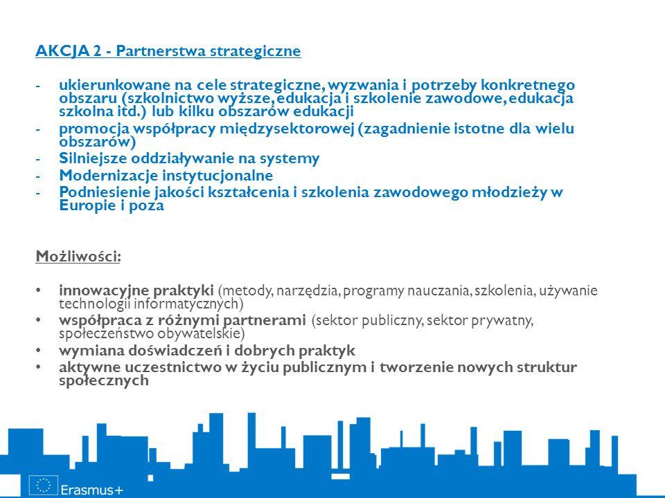 AKCJA 2 - Partnerstwa strategiczne -ukierunkowane na cele strategiczne, wyzwania i potrzeby konkretnego obszaru (szkolnictwo wyższe, edukacja i szkole