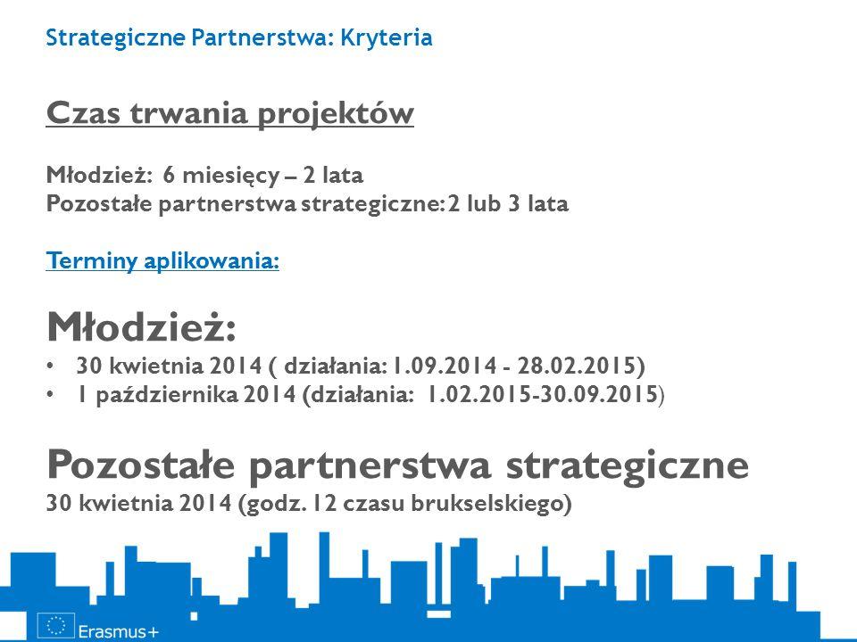 Strategiczne Partnerstwa: Kryteria Czas trwania projektów Młodzież: 6 miesięcy – 2 lata Pozostałe partnerstwa strategiczne: 2 lub 3 lata Terminy aplik