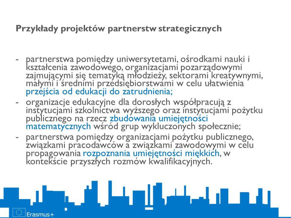 Przykłady projektów partnerstw strategicznych -partnerstwa pomiędzy uniwersytetami, ośrodkami nauki i kształcenia zawodowego, organizacjami pozarządow
