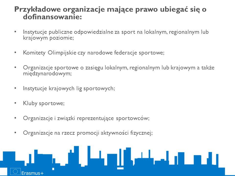 Przykładowe organizacje mające prawo ubiegać się o dofinansowanie: Instytucje publiczne odpowiedzialne za sport na lokalnym, regionalnym lub krajowym