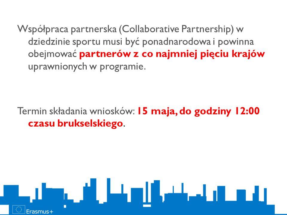 Współpraca partnerska (Collaborative Partnership) w dziedzinie sportu musi być ponadnarodowa i powinna obejmować partnerów z co najmniej pięciu krajów