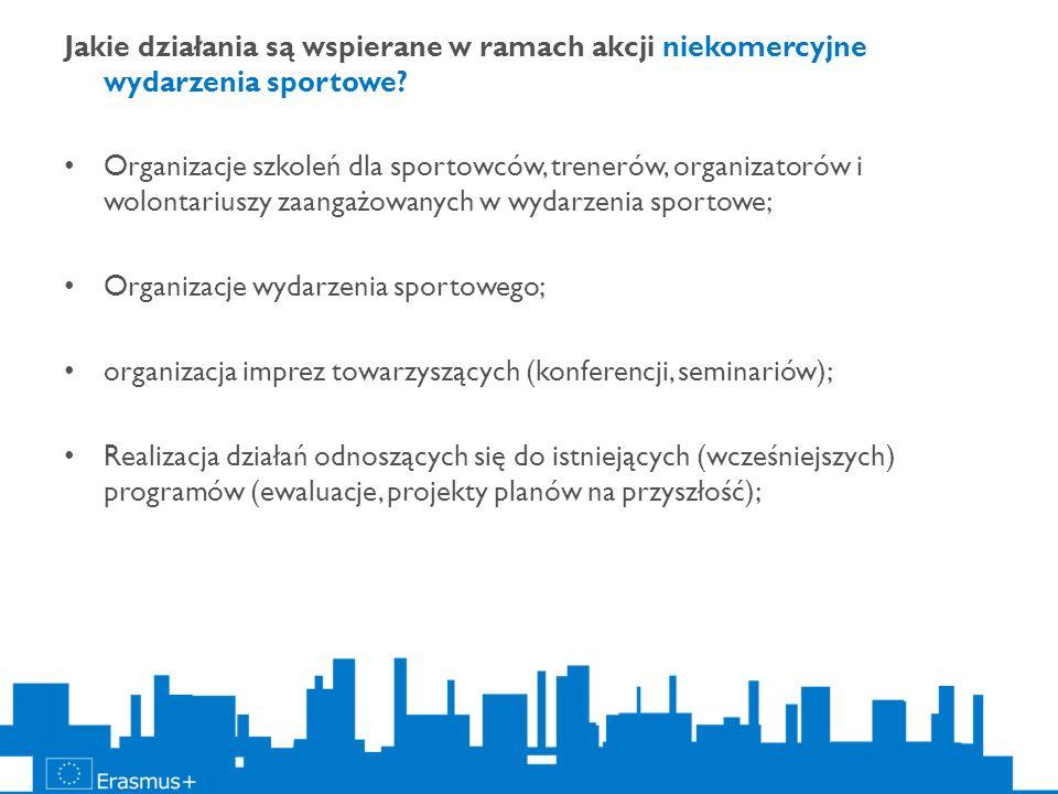 Jakie działania są wspierane w ramach akcji niekomercyjne wydarzenia sportowe? Organizacje szkoleń dla sportowców, trenerów, organizatorów i wolontari