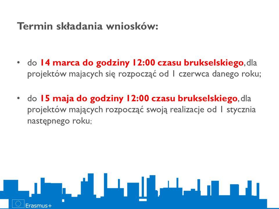 Termin składania wniosków: do 14 marca do godziny 12:00 czasu brukselskiego, dla projektów majacych się rozpocząć od 1 czerwca danego roku; do 15 maja