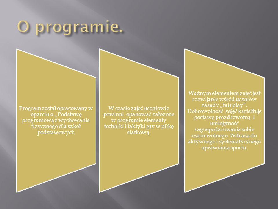 Program został opracowany w oparciu o Podstawę programową z wychowania fizycznego dla szkół podstawowych W czasie zajęć uczniowie powinni opanować zał