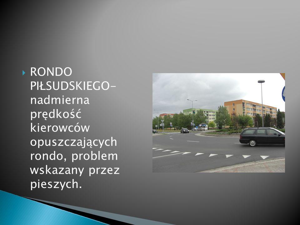 RONDO PIŁSUDSKIEGO- nadmierna prędkość kierowców opuszczających rondo, problem wskazany przez pieszych.