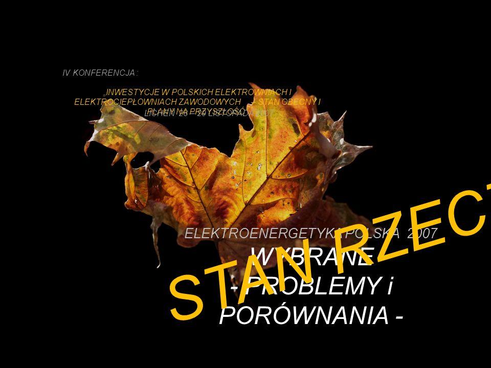 ELEKTROENERGETYKA POLSKA 2007 WYBRANE - PROBLEMY i PORÓWNANIA - IV KONFERENCJA : INWESTYCJE W POLSKICH ELEKTROWNIACH I ELEKTROCIEPŁOWNIACH ZAWODOWYCH