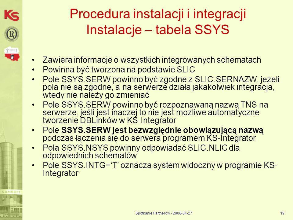 Spotkanie Partnerów - 2008-04-2719 Procedura instalacji i integracji Instalacje – tabela SSYS Zawiera informacje o wszystkich integrowanych schematach