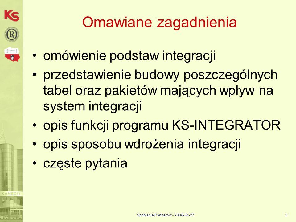 Spotkanie Partnerów - 2008-04-272 Omawiane zagadnienia omówienie podstaw integracji przedstawienie budowy poszczególnych tabel oraz pakietów mających
