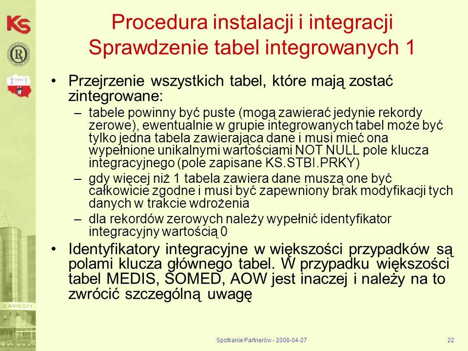 Spotkanie Partnerów - 2008-04-2722 Procedura instalacji i integracji Sprawdzenie tabel integrowanych 1 Przejrzenie wszystkich tabel, które mają zostać