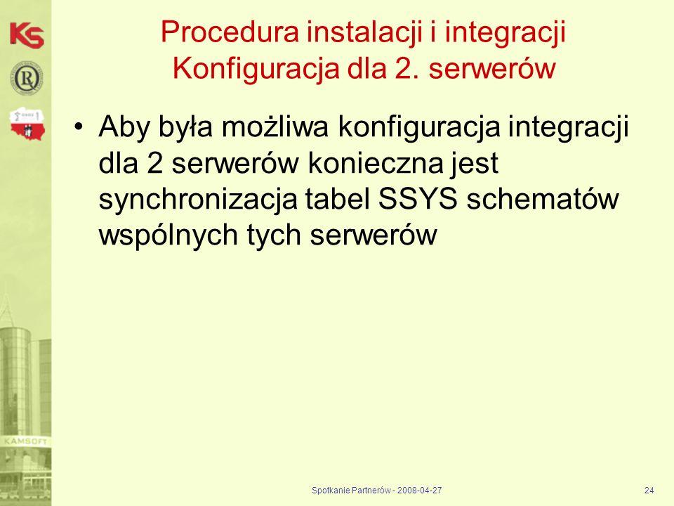 Spotkanie Partnerów - 2008-04-2724 Procedura instalacji i integracji Konfiguracja dla 2. serwerów Aby była możliwa konfiguracja integracji dla 2 serwe