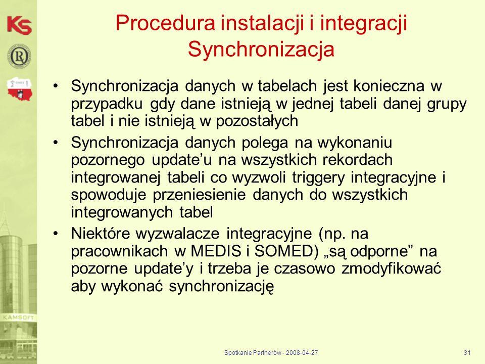 Spotkanie Partnerów - 2008-04-2731 Procedura instalacji i integracji Synchronizacja Synchronizacja danych w tabelach jest konieczna w przypadku gdy da