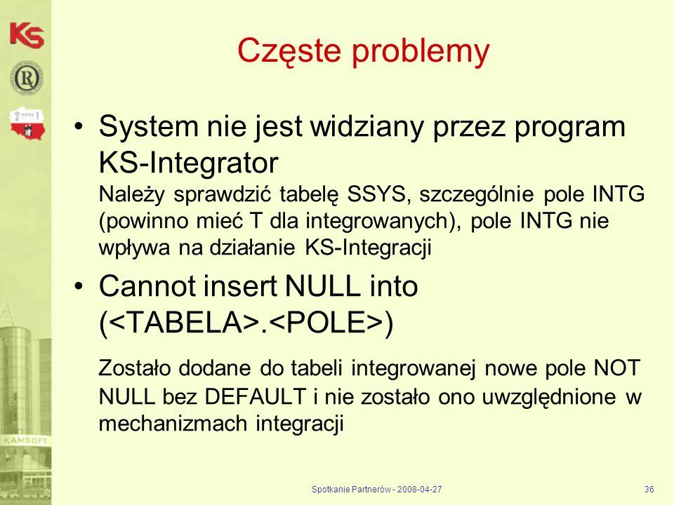 Spotkanie Partnerów - 2008-04-2736 Częste problemy System nie jest widziany przez program KS-Integrator Należy sprawdzić tabelę SSYS, szczególnie pole