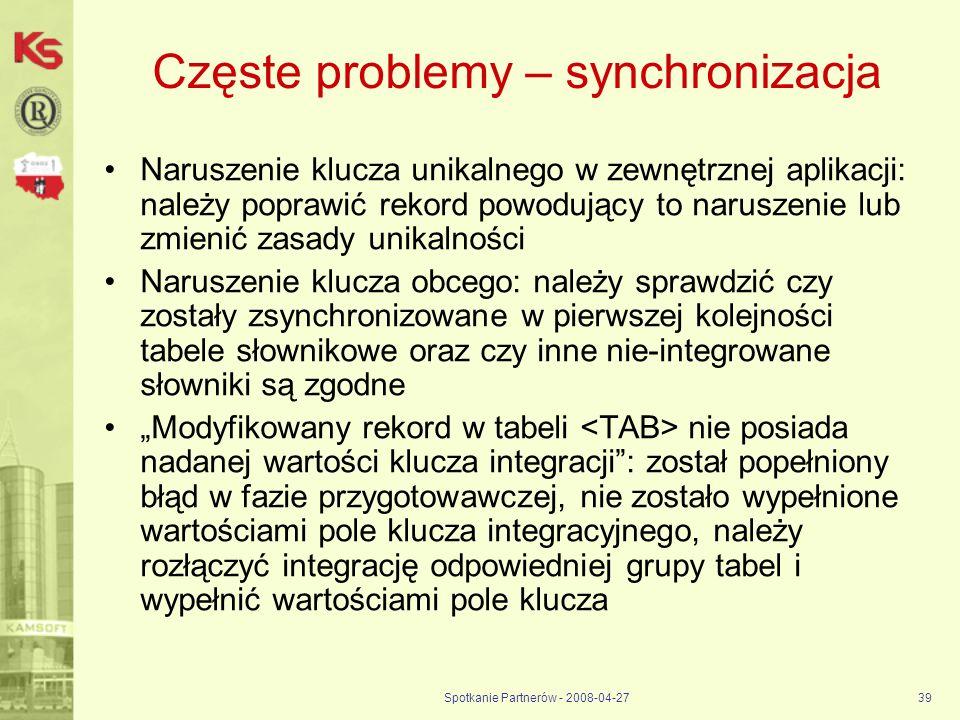 Spotkanie Partnerów - 2008-04-2739 Częste problemy – synchronizacja Naruszenie klucza unikalnego w zewnętrznej aplikacji: należy poprawić rekord powod