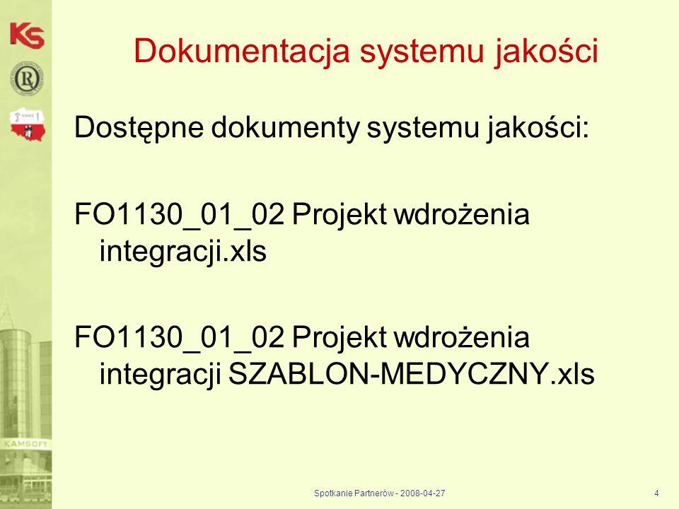 Spotkanie Partnerów - 2008-04-274 Dokumentacja systemu jakości Dostępne dokumenty systemu jakości: FO1130_01_02 Projekt wdrożenia integracji.xls FO113