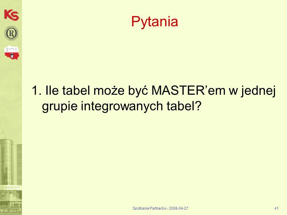 Spotkanie Partnerów - 2008-04-2741 Pytania 1. Ile tabel może być MASTERem w jednej grupie integrowanych tabel?