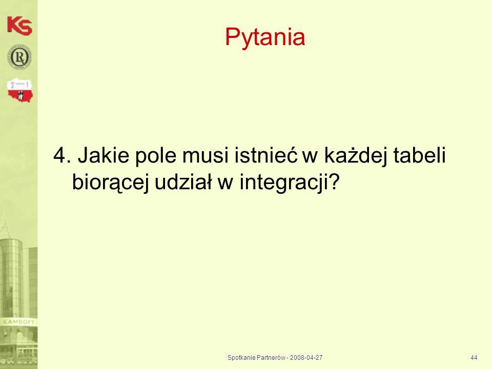 Spotkanie Partnerów - 2008-04-2744 Pytania 4. Jakie pole musi istnieć w każdej tabeli biorącej udział w integracji?